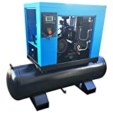 HPDAVV 10 HP Rotary Screw Air Compressor 3cfm@125psi with 40 Gallon Air Tank Mounted 208-230V/60HZ/3-Phase Industrial Air Compressed System