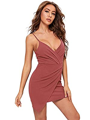 Fabric has some stretch Adjustable spaghetti strap, zipper back, v neck, ruched front, backless Above knee length, asymmetrical, bodycon wrap dress, mini party dress Cute and sexy style, suitable for cocktai, party, dating, outing wear Please check o...