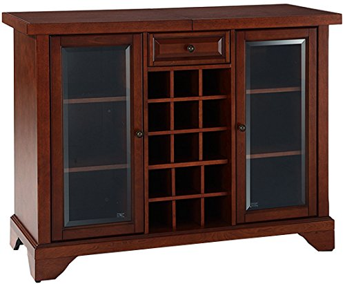 Crosley Furniture LaFayette Sliding Top Bar Cabinet, Vintage Mahogany