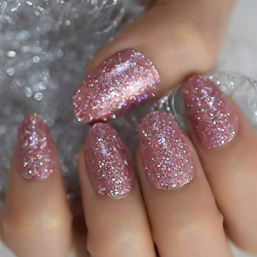 CoolNail Colorful Shimmer Glitter Pink False Fake Nails UV Gel Press on Summer Short Round Head Easy Wear for Home Office Nail Tips