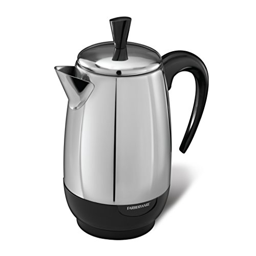 Spectrum Brands Farberware 8-Cup Percolator, Stainless Steel, FCP280, Black