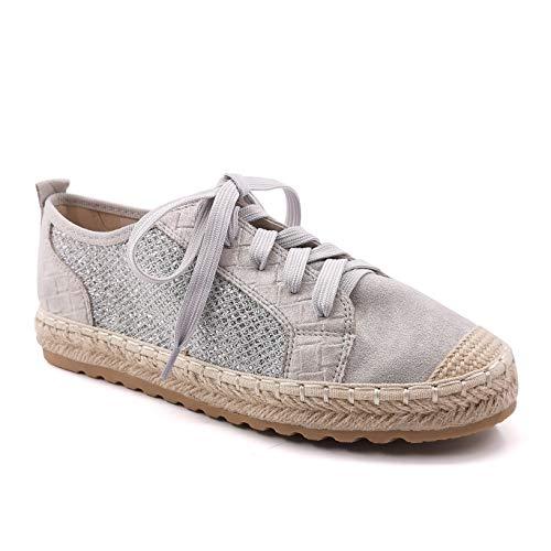 Angkorly - Zapatillas Moda Zapatilla - Sneakers Alpargata Casual/Informal comode Bohemia Mujer Gamuza Trenzado Tacón Plano 2 CM - Gris LX213 T 37