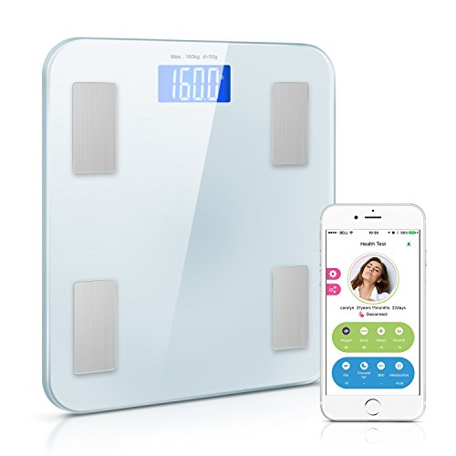 Adoric Premium Smart Scale Bathroom Scale, Weight/Body Fat/BMI/Fitness Body Composition Analysis, Tempered Glass Surface, Auto On/Off, Auto Zeroing