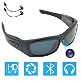 Bluetooth Camera Sunglasses Full HD 1080P Video Recorder Camera with UV Protection Polarized Lens, CAMXSW A Great Gift for Your Family and Friends, Black