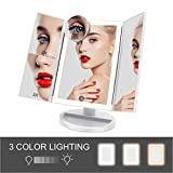 FASCINATE Trifold Lighted Makeup Mirror 3 Color Lighting Modes 72 LEDs Makeup Vanity Mirror with 10X/3X/2X/1X Magnification, Cord & Cordless, 180Rotation Touch Screen Cosmetic Mirror White