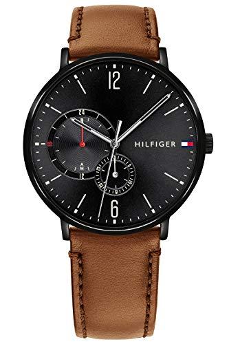 Tommy Hilfiger Herren Multi Zifferblatt Quarz Uhr mit Leder Armband 1791510