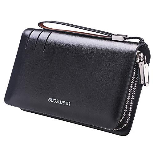 Portemonnaie Männer RFID Schutz Herrentasche Leder 22×13,5×4cm Geldbörse Herren mit Münzfach Unterarmtasche Handgelenktasche Groß Multi-Tasche mit Trageschlaufe Clutch TEEMZONE