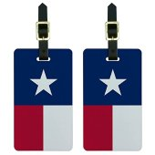 Graphics & More Texas Flag Luggage Tags Suitcase Carry-on Id, White
