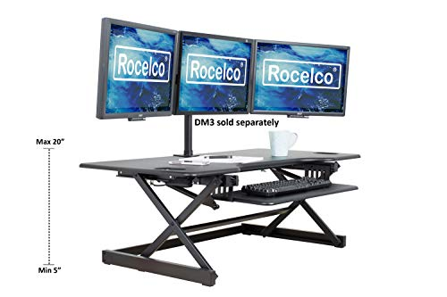 Rocelco 46' Large Height Adjustable Standing Desk Converter | Quick Sit Stand Up Triple Monitor Riser | Gas Spring Assist Computer Workstation | Retractable Keyboard Tray | Black (R DADRB-46)