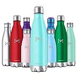 HOMPO Bottiglia Acqua in Acciaio Inox - Borraccia Termica Isolamento Sottovuoto a Doppia Parete,Privo di BPA & Leakproof,Borracce per Bambini, Bici, Palestra(Smeraldo,500ml)