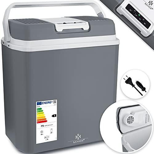 KESSER® 24 Liter Kühlbox   KÜHLT und WÄRMT   Thermo-Elektrische Kühlbox 12 Volt und 230 Volt   Mini-Kühlschrank   für Auto und Camping   EEK A+++   Mini-Kühlschrank   Auto und Camping Grau