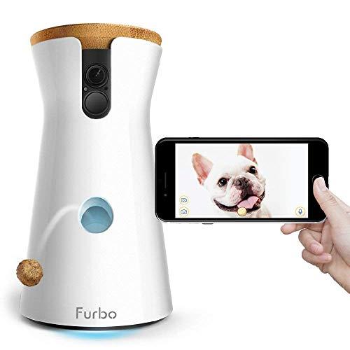 Furbo - VIDEOCAMERA per Cani: Telecamera HD WiFi per Animali con Audio Bidirezionale, Visione Notturna, Alerta Latrato e Lancio di Croccantini, Disegnato per i Cani