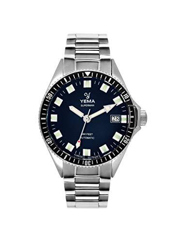 Yema Herren-Armbanduhr aus Stahl, silberfarben
