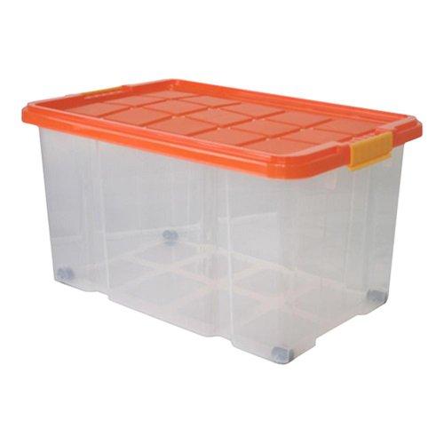 2 Stück AXENTIA Unibox mit Deckel und Rollen Stapelbox Universalbox Aufbewahrungskiste Spielzeugbox 60 x 40 x 34 cm 55 Liter