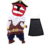 UEETEK Traje de Traje de Mascotas, Funny Cool Caribbean Pirate Pet Halloween Traje de Navidad con Sombrero para Perros pequeños a medianos Gatos, tamaño S