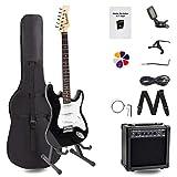 Display4top Guitare électrique avec Amplificateur,Support, sac, médiator, manche, cordes de rechange, accordeur, étui et câble (Noir-Blanc)