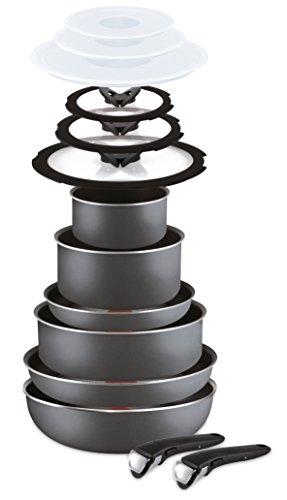 Lagostina Ingenio Essential Batteria di Pentole, 2 x Manico amovibile, Alluminio, 14 Pezzi, Nero