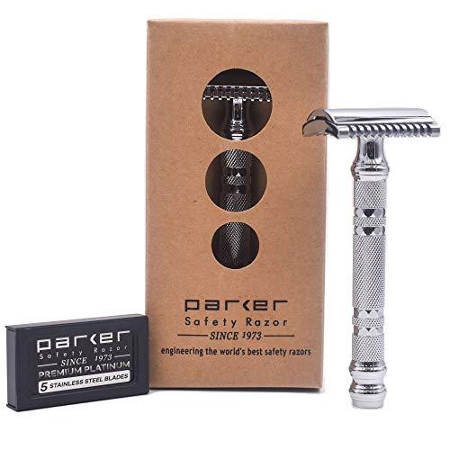Parker 24C -Three Piece OPEN COMB Double Edge Safety Razor & 5 Premium Double Edge Blades