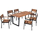 Tangkula 7PCS Outdoor Dining Set, Patio Dining Furniture Set with Sturdy Steel Frame, Large Rectangle Dining Table w/Acacia Wood Top & Umbrella Hole, 6 Ergonomic Chairs for Backyard Garden Outdoor