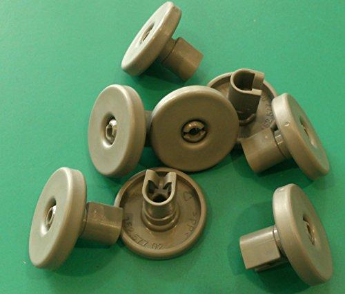 Kit ruote cesto inferiore lavastoviglie REX 8 pezzi grigie modello TT80E , TT08E , TT09E , TT8451 ,...
