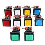 EG Starts Lot de 10 boutons poussoirs LED lumineux Différentes couleurs 33 mm 12 V