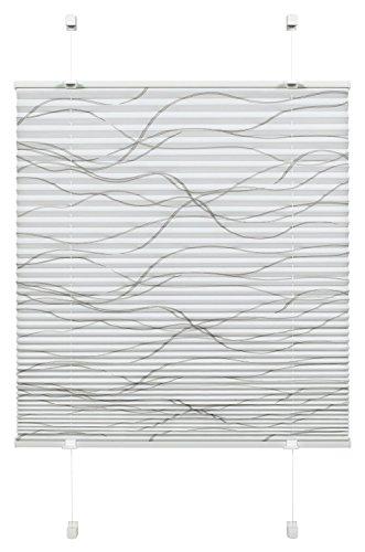Gardinia Plissee zum Klemmen, Blickdichtes Faltrollo, Alle Montage-Teile inklusive, EASYFIX Plissee Katy Wave verspannt mit zwei Bedienschienen, Weiß, 70 x 130 cm (BxH)