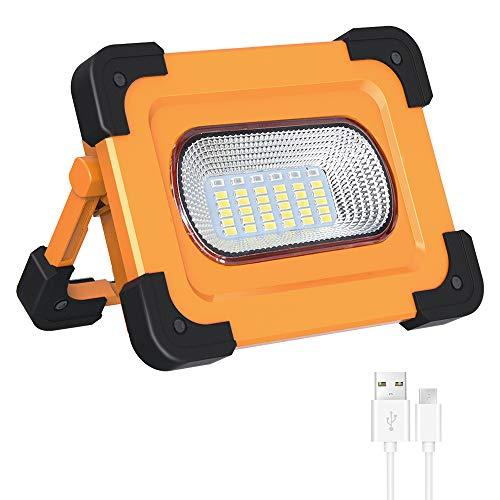 Elekin Faro Luce LED Portatile, 60W Lampada LED Esterni 3000LM Lampada da Lavoro a LED Ricaricabile con Cavo USB LED Esterni con Batteria Integrata Lavoro da Campeggio Lamp 4 Modalit
