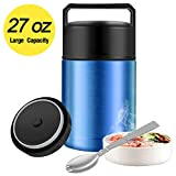 Food Thermos,27oz Thermos for Hot Food with Folding Spoon and Handle,Insulated Food Jar Wide Mouth,Leak Proof Soup Thermos,Stainless Steel Vacuum Insulated Thermal Lunch Container Flask (Blue)