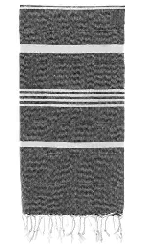 Organic Beach Towel (36 x 70) - Prewashed Peshtemal, 100% Cotton - Highly Absorbent, Quick Dry and Ultra-Soft - Washer-Safe, No Shrinkage - Stylish, Eco-Friendly - Black