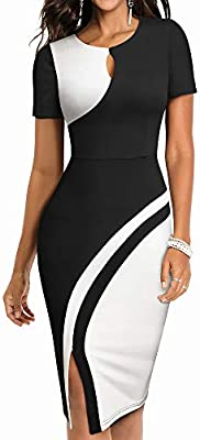 This work dress for women features keyhole detail and round neckline,which makes you look professional and capable in the office. It fits your curves perfectly and makes you look elegant and chic. Features: colorblock, keyhole, elasticity, short Slee...