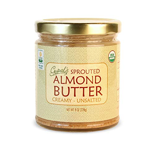 Gopal's Organic Raw Sprouted Almond Butter (Creamy and Unsalted) - 8 Ounces Jar