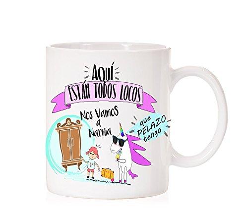 Taza Me voy a Narnia, aquí están Todos Locos. Arre Unicornio. Taza Muy Divertida para Regalo. Las crónicas de Narnia