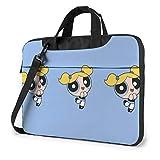 Bolsa para portátil de 15,6 Pulgadas Powerpuff Girls Azul Maletín para portátil Bolso Bandolera de Hombro Funda