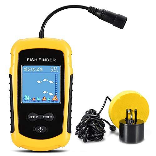 QYLT Ecoscandaglio da Pesca Cercatore di Pesci, Fish Finder LCD ad Alta Definizione,100 M profondit Sonar Trasduttore 2-in-1 Cavo e Sensore Portatile Impermeabile