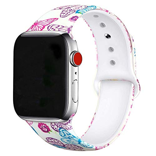 U-horn Butterfly Floral Bands Compatible with Apple Watch Series 4/3/2/1,Silicone Sports Straps Printed Pattern Wristband for iWatch 38mm/42mm/40mm/44mm S/M M/L for Women/Men
