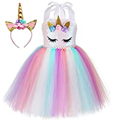 Fancy unicorn outfits, every girl will like it! package including 1 tutu dress + 1 unicorn headband Stretchy crochet top, 6 sizes for girls 1-10 years old, it's better to choose 1 size up according to costumers' reviews, please kindly check the size ...