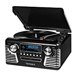 it.innovative technology Victrola 50s Retro 3-Speed Bluetooth Turntable with Stereo, CD Player and Speakers, Black (Renewed)