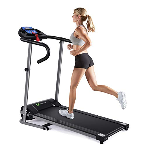 Goplus 1100W Electric Folding Treadmill, with LCD Display and Heart Rate Sensor, Compact Running Machine for Home 1