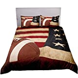 ADASMILE A & S 3D American Flag Football Bedding Set Kids 3 Piece Duvet Cover Set with Pillow Shams for Teens Boys Girls, Full Size