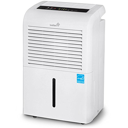 Ivation 4,500 Sq Ft Energy Star Dehumidifier, Large Capacity Compressor Dehumidifier Includes Programmable Humidistat, Hose Connector, Auto Shutoff Restart, Washable Filter, Timer and Casters