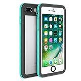 Fansteck iPhone 8 Plus iPhone 7 Plus Waterproof Case, IP68 Full-Body Protect Rugged Slim Crystal Case with Built-in Screen Protector, Waterproof/Snowproof/Shockproof/Dirtproof, 5.5 inch (Mint Green)