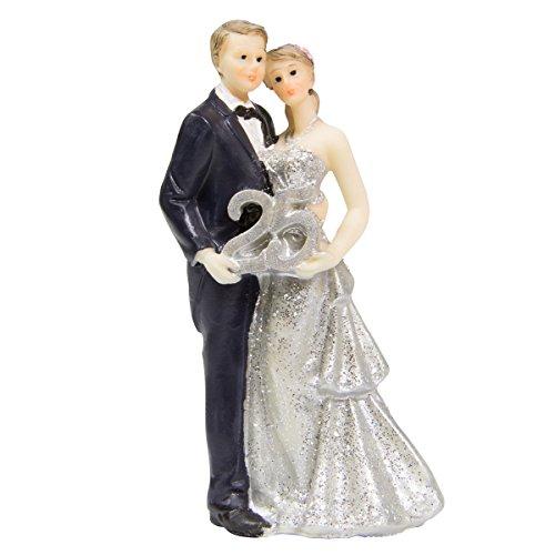 Figura de pareja de novios para boda, 25 años, color plateado