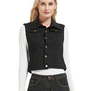 CROYEE Women's Casual Ripped Denim Vest Sleeveless Jean Jacket