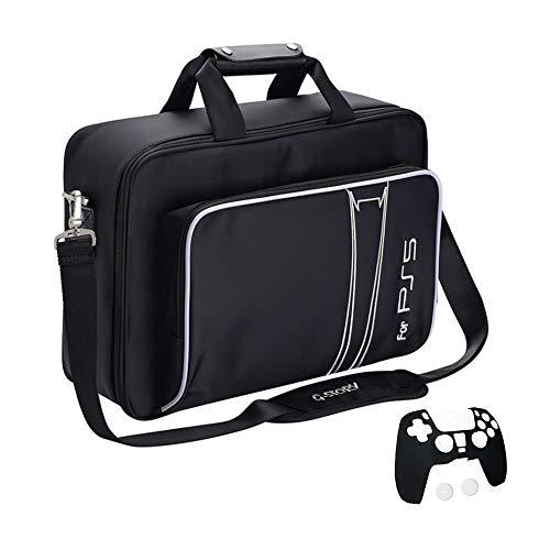 Tasche für Playstation 5, Tragetasche für Gaming Konsolen - Schutz Konsolentasche mit Schultergurt und Unterteilbaren Fächer für Zubehör und Games – Kompatibel mit PS5