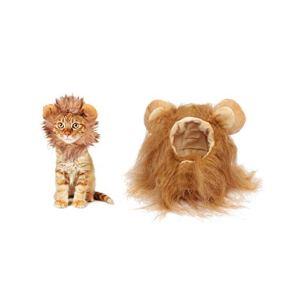 Disfraz de Halloween para mascotas, gorro de melena de león para gatitos, cachorros, perros, ajustable, lavable, cómodo…