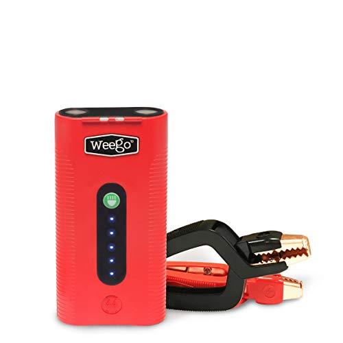 Weego 44 Jump Starter 44 - Jump Starts 7 Liter Gas & 3.5L Diesels – Quick Charges Phones, 28 -Hr 500 Lumen Flashlight, Premium, USA-Designed & Engineered IP65 Water Resistant