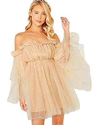 Fabric: No stretchy, breathable, soft and comfy Design: Ruffle mesh, off shoulder, flounce sleeve, high waist, A line, flared hem dress for women Occasion: Suit for party, wedding and other special occasion, fit for spring and summer Style: Yarn off ...
