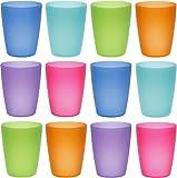 idea-station Neo Verres Plastique 12 Pieces, 250 ML, Couleur, réutilisables, gobelet, Verre, Tasse en Plastique, Vaisselle, Enfant, Bebe, Camping, a Eau, Whisky, Cocktail