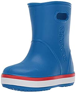Crocs Kids' Crocband Rain Boot | Waterproof Slip On Shoes | Kids' Rain Boots, Bright Cobalt/Flame, C6 US Toddler