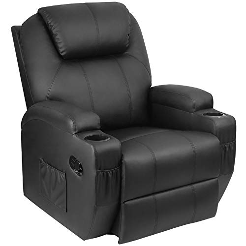 Homall SP0 Recliner Chair with Massage Single Living Room Huge Thick Padded Heating Function Sofa Seat, Black